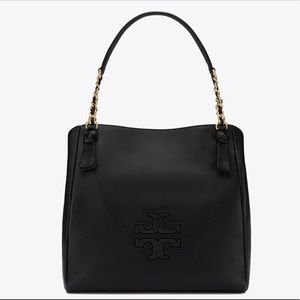 NWT Tory Burch Harper Tote Black Leather with Gold